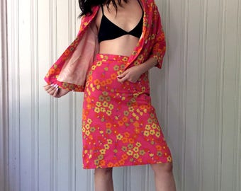 vintage 1960s Pink Flower Power Suit Silk feel Tricel Fabric Multi Colored floral print sexy secretary Classic Jackie O Cut Skirt Suit