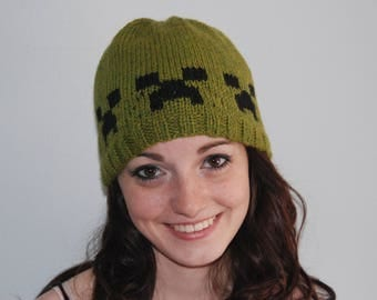 Creeper Cap, Creeper Hat ,Minecraft Hat, Minecraft Creeper Hat, Minecraft Cap, Green Creeper Hat, Green Minecraft Hat
