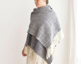 Serape man blanket scarf, Blue woven merino wool pashmina shawl, Tartan Holiday gift for woman and man, Best friend gift, Christmas sale