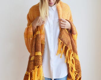 Handwoven shawl pashmina merino wool orange tones