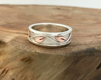 Copper & Silver Ivy Promise Ring for Her, Mixed Metal Vine Handmade Wedding Band