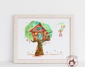 Magical Tree house - Fine Art Print -Kids room - Nursery- Children's deco - Moon - telescope whimsical treehouse boy and girl illustration