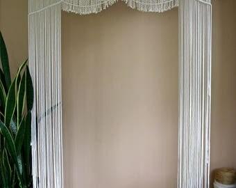 "SALE Macrame Arch - Natural White Cotton Rope 48"" Dowel - Boho Decor, Wedding Backdrop, Curtain, Headboard, Wall Hanging - Ready To Ship"