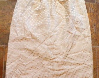 vintage ALBERT NIPON silk SKIRT polka dots straight pull-on M