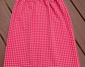 RED GINGHAM 1960's SKIRT 60's pull-on xs S (A8)