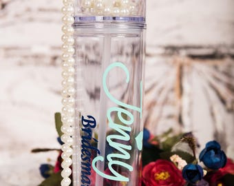 Bridesmaids tumblers , Sentimental Bridesmaids gift , Will you be my bridesmaid , Personalized wedding , Custom tumbler , straw cup
