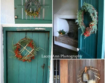 Holiday Doors with Wreaths Christmas Adobe home decor Wall art Vintage