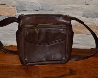 90s vintage brown leather shoulder bag purse by Fossil Classic 1954 Brown Leather Organizer Shoulder Bag 75082