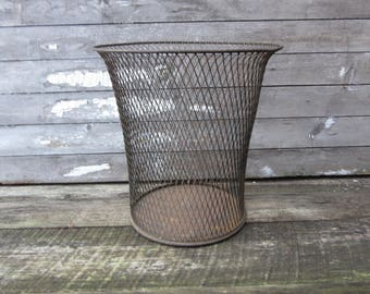 Vintage Waste Basket Wire Metal Early 1900s Antique Northwestern Expanded Metal Chicago Victorian 1900s Era Industrial Trash Can Garbage