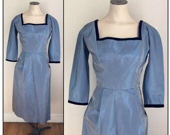 Vintage 1950s Henry Rosenfeld Misses' Dress Blue Taffeta New Old Stock XS 0 2