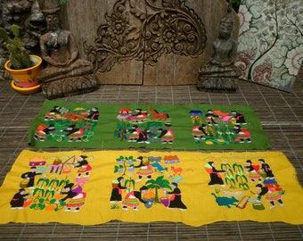 Embroidered Hmong Folk Art Textile,Set Of 6,  Hand Made Embroidered Textile, Hmong Textile , Tribal Textile
