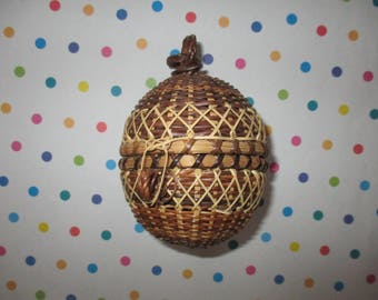 Vintage Basket Hanging Potpourri Scent Ball Woven Wicker Round with Lid