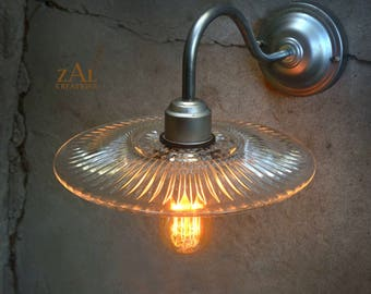 Wall light. Sconce. Gooseneck. Ribbed glass. Steampunk. Industrial, Edison.