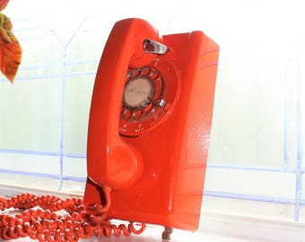 Vintage Tangerine Orange Wall Telephone Stromberg Carlson 1970s Rotary Dial