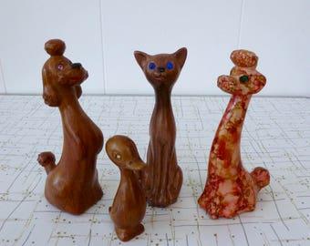 50's Faux Bois Figurine Set Rhinestone Eyes Vintage Plastic Figures Poodle Cat Duck Instant Collection