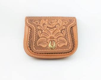 Vintage 1970s Hand-Tooled Leather Purse 70s Purse 70s Leather Purse Embossed Purse Carved Purse Tooled Leather Purse 70s Handbag Engraved