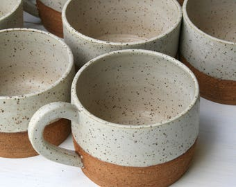 latte cup, large coffee cup, speckled stoneware, 12oz cup, large teacup, minimal matte, rustic speckled white, coffee lover gift, coffee mug