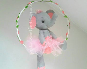 Cute Elephant Ballerina ceiling mobile / hanging mobile / cribmobile / nursery decor / babyroom /