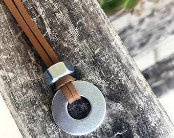 Washer Nut Faux Leather Necklace / Mens Necklace / Unisex Necklace /  Rustic Necklace