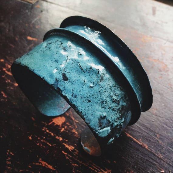 Rustic blue enamel textural copper cuff bracelet