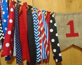 Red, White, Black & Blue With Burlap Shabby Rag Banner Photo Prop