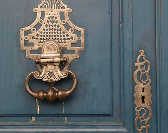 Paris Photograph - Blue Door With Brass Knocker and Lock, Vintage Decor, Architectural Fine Art Photograph, Urban Home Decor, Wall Art