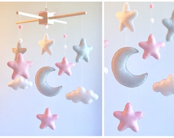 READY TO SHIP - Baby Crib Mobile - Baby Mobile - Pink and Gray Mobile - Pink and gray nursery - stars and clouds mobile - baby mobile stars