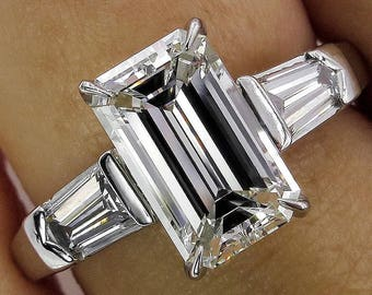 Timeless GIA 2.42ctw Estate Vintage Emerald Cut Diamond Platinum Three Stone Engagement Wedding Ring