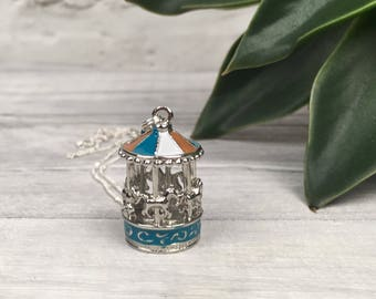 Carousel necklace, whimsical necklace, charm jewellery, merry go round necklace, vintage inspired jewellery, gifts for best friend, etsy UK