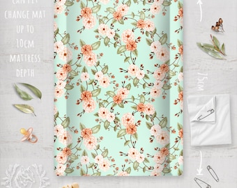 Change Mat Cover/ Boho Roses Autumn Floral Peach Orange on Mint / Linen Cotton or Eco Canvas | Fabric by Thistle and Fox | Ships in 4-5 wks