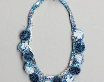 Simple blue and white necklace, short rustic necklace, unique fiber and textile jewelry