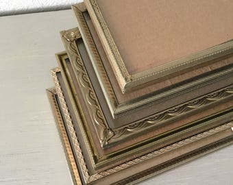 Vintage Picture Frames Mid Century Set of 6 / 5x7 In Lovely Gold Tone Metal With Green Patina Art Deco Filigree wedding table number holders