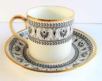 Cup & Saucer, Victoria Black, Black Laurel And Geometric Design, Crown Staffordshire, Vintage, 1970s