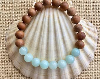 amazonite bracelet, yoga jewelry, sandalwood boho bracelet, crystal healing, gift for her
