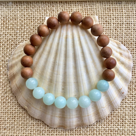 sandalwood bracelet, yoga jewelry, amazonite, crystal healing, gift for her