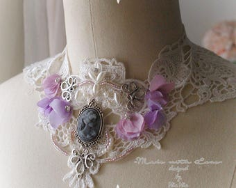 Lace Bib necklace , Victorian Steampunk Choker Necklace ,Lace Collar Cameo purple flower pearl  Goth Gothic Jewelry Handmade  Lolita