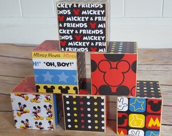 Mickey Mouse Wood Blocks, Mickey Baby Shower, Mickey Nursery, Mickey  Classroom, Disney