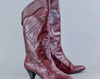 Vintage Women's Burgundy Leather Long Calf Boots Italian UK 5.5 EU 38.5 US 7.5