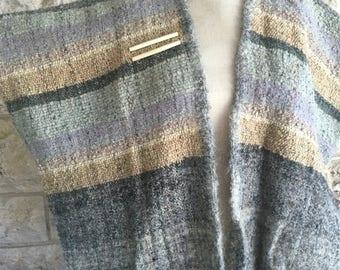 Woven Poncho Santa Fe Southwestern Cape Gray Wool Poncho Ethnic Boho Vintage Fringe Cape Jacket Nizhoni