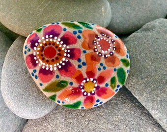 happy boho flowers / painted rocks / painted stones/ boho art / hippie art / bohemian / jungalow style / rock art / tiny art /rock painting
