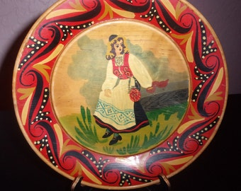 Wooden hand painted decorative plate, European