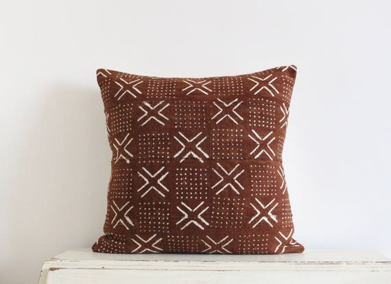 "African Mudcloth Pillow Cushion Cover 20"" x 20"" in Rust"