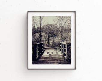 Woodland art print | instant download | rustic wall art | modern country decor | woodland decor | landscape art print | wooden bridge photo