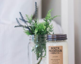 Lavender | Handmade Soy Wax Mason Jar Candles | Choose Your Size | 4 oz. | 8 oz. | 16 oz. | North Mountain Candle Co.
