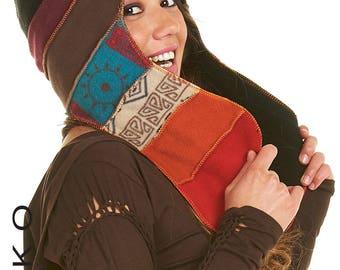 PSYTRANCE HOOD, hat with ear flaps, ELF Hood, Pixie hat, Fairy hood, pixie clothing, peruvian hat, pixie hood, Fchape