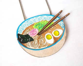 Ramen Bowl Necklace, Japanese Noodles, Japan Inspired Laser Cut Plywood Jewellery