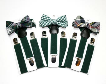 Boys Suspender and Bow Tie Set~Boys Suspenders~Boys Bow Tie~Hunter Green Suspenders~Tattersall Bow Tie~Color 33