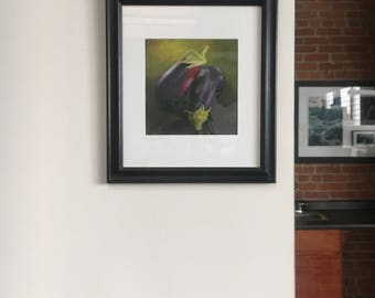 Framed Print of an Original Oil Pastel Painting of Eggplants