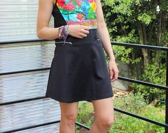 robe noir imprimé perroquets jungle