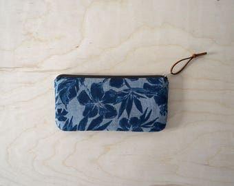 Zipper Pouch, Pencil Case in Hibiscus - Zip Pouch, Cosmetic Clutch, Phone Wallet, Zipper Clutch, Bridesmaid Gift